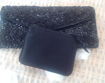1950's Black Beaded Clutch Bag With Purse