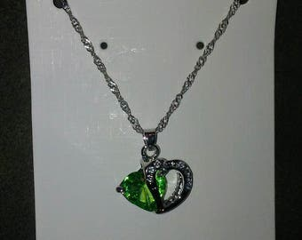 "18"" Silver Alloy Chain With A Peridot Green Colored Heart Pendant"