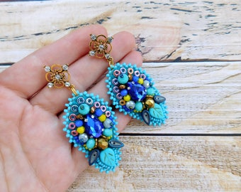 Seed bead earrings, beaded earrings, embroidery earrings, beaded jewellery, seed beaded jewelry