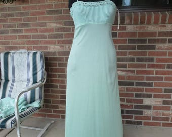 Vintage 70's Summer Prom Wedding Party Dress Mint Green