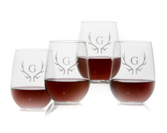Set Of 4 Personalized stemless wine glass // etched wine glass // Monogrammed wine glass // stemless wine glass // glass with Antlers
