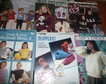 6 Vintage Knit Leisure Arts Clothing Pattern Leaflets