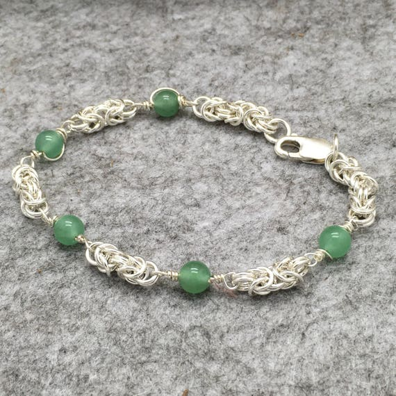 Sterling Silver Byzantine Bracelet with Wirewrapped Natural Silver Grey Moonstone Beads or Natural Green Advenurine Beads.