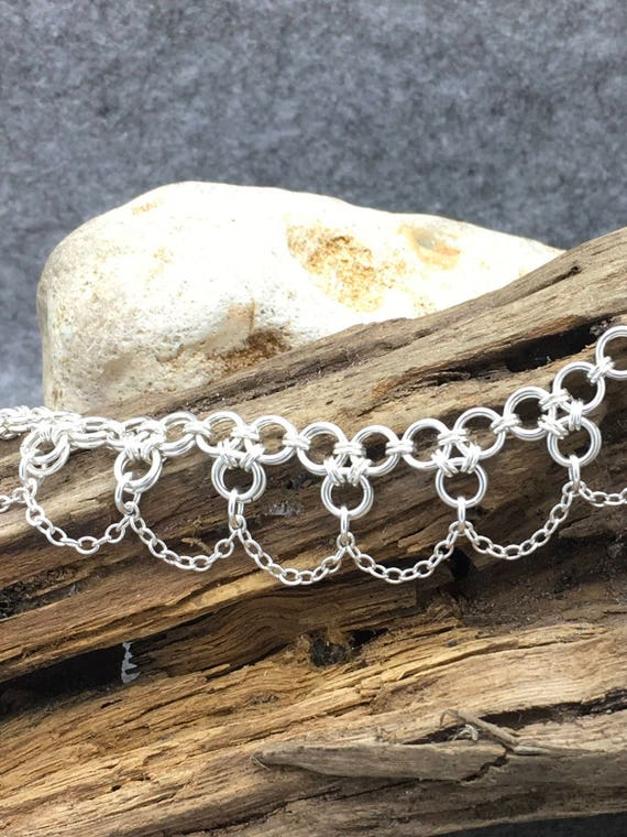 Sterling Silver Clover and Chain Bracelet Hallmarked