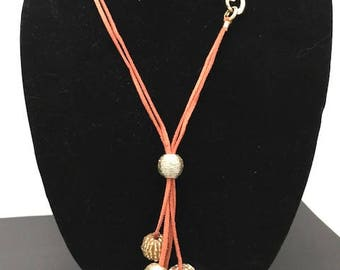 Beaded Suede Cord Accent Necklace