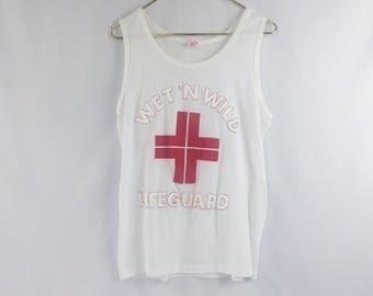 vintage 80s Wet n' Wild Lifeguard tank top // shirt // beach // pool // red cross // royal // first class // swim // summer