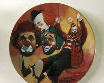 "Vintage Porcelain Hackett American Clown Plate Happy Days Chuck Oberstein - Wonderful World of Clowns Collection ""Happy Days"" | Creepy Clown"