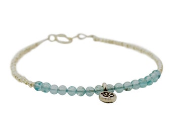 Delicate Apatite and Sterling Silver Beaded Strand Bracelet with Flower Charm