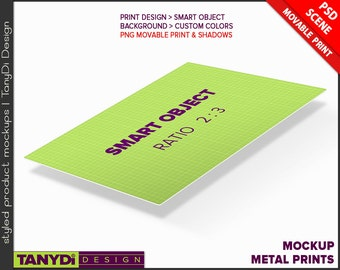 Metal Print PSD Mockup Ratio 2:3   8x12 Empty Portrait and Landscape Print Styled Mockup MP812