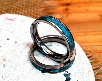 4 mm Titanium Turquoise Ring Band. Titanium, Sterling.