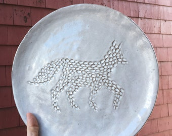 Ceramic Creamy White Fox Silhouette Illustrated Large Dinner Plate