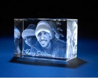 Personalized custom 3d Photo etched Engraving on Crystal Gift ( birthday, anniversary, wedding, valentine's day, corporate , Christmas gift)