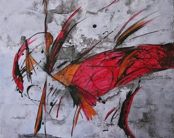 Large Abstract Acrylic Painting Red Painting Orange Painting Grey Painting Modern Art Contemporary Art