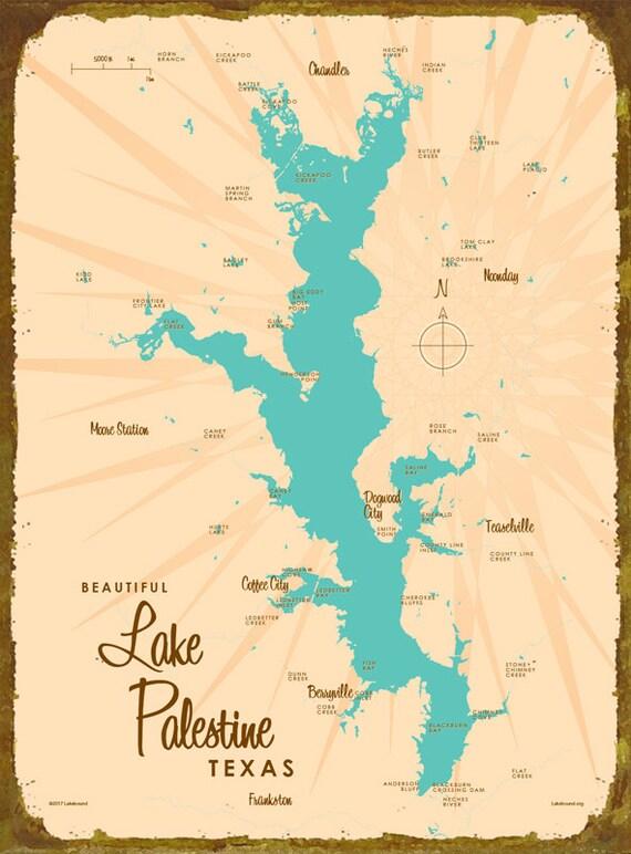 Lake palestine tx map wood or metal sign for Lake palestine fishing