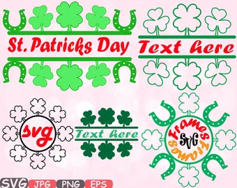 Lucky Split & Circle St. Patricks Day Silhouette SVG Cutting Files Freame frames clipart Irish four leaf clover Leprechaun t shirt  633s