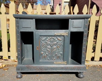 Hand Painted Antique Side Table / End Table / Cabinet - LOCAL PICKUP/DELIVERY Only