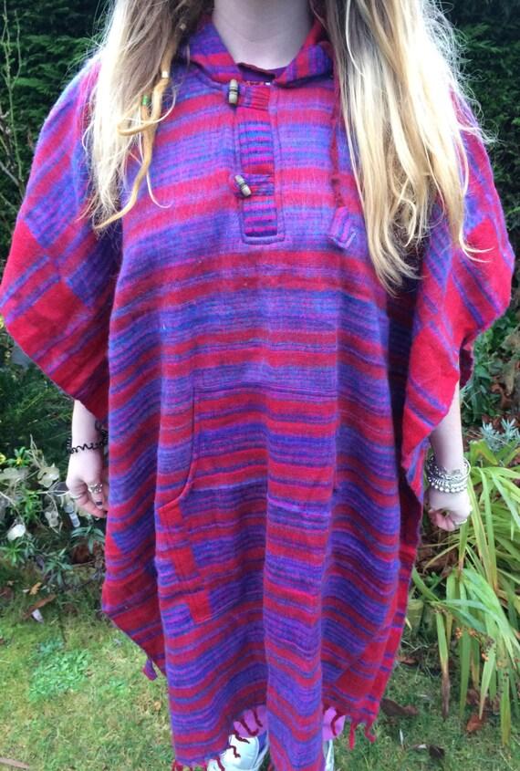 Unisex Poncho Full Length Blanket Bright Colourful Festival Boho Hippy Acrylic One Size 8-18