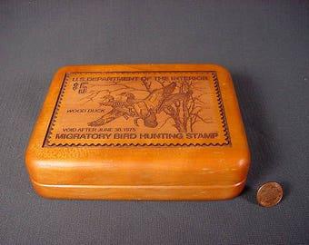 Vintage Old Collectible * Dresser Box * Wood Duck Stamp * Knife Display Case