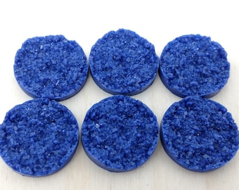 Dark blue 25mm nugget faux druzy Cabochons 6pcs