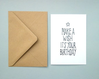 Black/white card, Make a wish it's your birthday, A6, folded, blank inside, with envelope