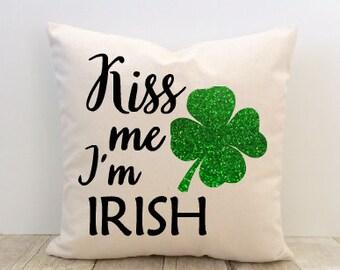 Pillow Cover, Kiss Me I'm Irish, St. Patrick's Day, Shamrock, 4 Leaf Clover, Decorative, Home Decor