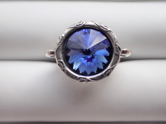 Sapphire Crystal Adjustable Ring, Antique Silver