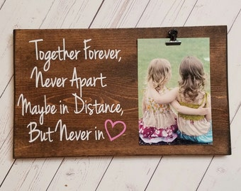 Best Friend, Long Distance Relationship Picture Frame gift! Gift for friend, sister, photo board picture with clip wood frame, bridal shower