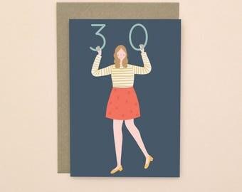 Illustrated 30 Birthday Card A6