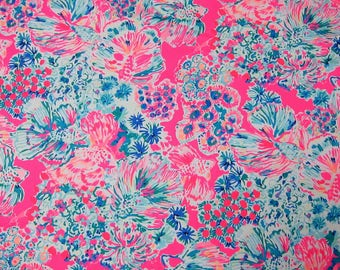 "2017 Lilly Pulitzer Cotton Dobby Fabric "" Gypsea  "" 1 Yard 36"" x 57"""