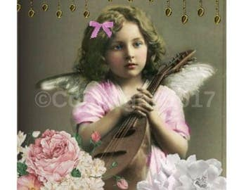 Angel Icon DIY Etsy Banner Cover Vintage Victorian Girl Child Pink Blank Shop Store  Avatar Set  Instant Digital Download