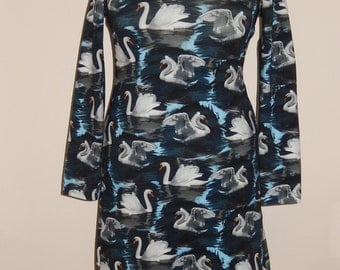 White swans, tricot dress, print, dark blue white grey, size EU 38/40 (USA 8/10 - UK 10/12), cotton, tricot