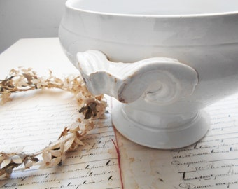 French Antique White Ironstone Soup Tureen Serving Bowl