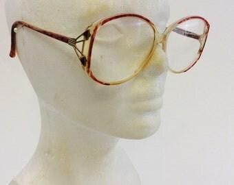 Vintage Oversize Ladies Marble Frame Eyeglasses Metal Temples SM La Paz Womens Eyewear Brown Clear Translucent Frames Hipster Mod Glasses