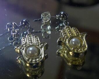 Hamsa Pearl Earrings