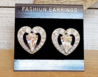 Vintage Bogoff Heart Shaped Rhinestone Clip Earrings Rhodium Plated Ca. 1940s Henry Bogoff Signed Perfect for Bride Wedding