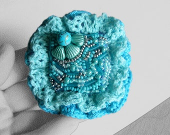 Turquoise summer jewelry brooch gifts ideas Beaded brooch jewelry Embroidery brooch Crochet brooches pin Flower brooches bohemian jewelry