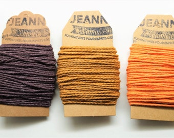 Kit 3 coupons cotton strings baker's twine, chocolate, hazelnut, orange, 3 x 10 m