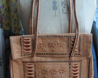 Embossed leather handbag REF 573