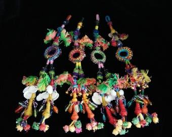 """Set of 4 Colorful 9.25"""" Long Banjara Tassels Shisha Mirrors Bright DIY Bohemian Craft Supply ATS Belt Embellishment Costuming Swag"""