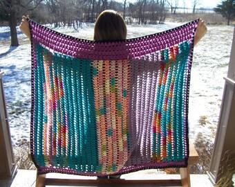 Crochet Afghan - Field Flowers - Lap Blanket, Small Afghan, Crochet Throw