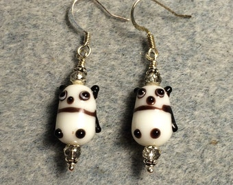Small black and white lampwork panda bear bead earrings adorned with grey Chinese crystal beads.