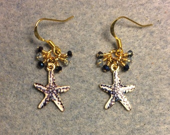 Dark and light blue enamel starfish charm earrings adorned with tiny dangling dark and light blue Chinese crystal beads.