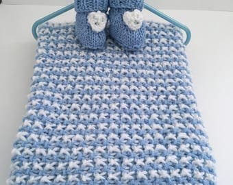 Baby Blanket with Free Booties, Handknit Baby Blanket, FREE SHIPPING within the US