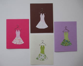 Handmade Paper Dress Greeting Cards
