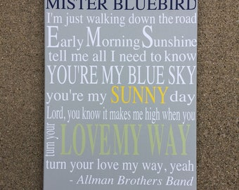 Mister Bluebird Canvas - Song Lyric Canvas Art
