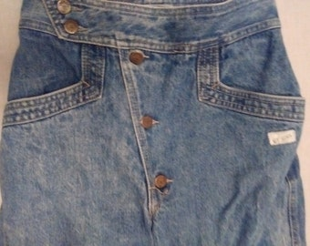 Guess Jeans Vintage Size 27 Diagonal Button Fly Front Crop Pants Notched Ankle George Marciano 1980's