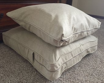 6 - Completed Custom Church Cushion Covers (3 - backs & 3 - seats) for Jessica (Using her Fabric). Zippers, Welt Cord (AD only-Not for sale)