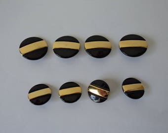 REDUCED - French vintage set of eight black and gold craft buttons (04682)