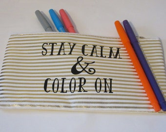 Colored Pencil Quote Pouch - Zippered Pouch for Markers - Bible Journaling Pencil Cases - Pencil Holder Bag - Gold Cute Pencil Quote Case
