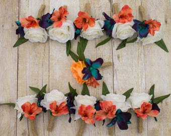 Tropical wedding - Teal orange boutonniere - Tropical prom corsage - White rose - Blue orange wedding - Teal coral wedding - Galaxy orchids